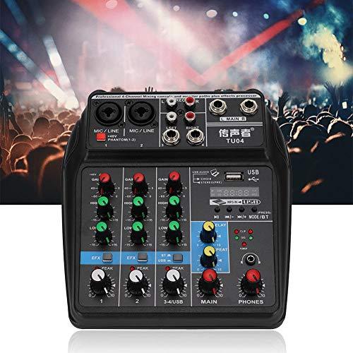 【𝐒𝐞𝐦𝐚𝐧𝐚 𝐒𝐚𝐧𝐭𝐚】 Consola de Mezcla de Audio Profesional, Función de USB Compacto Bluetooth Tarjeta de Sonido Mezclador de 4 Canales 48V Phantom Power, para producción de música en el hogar, c