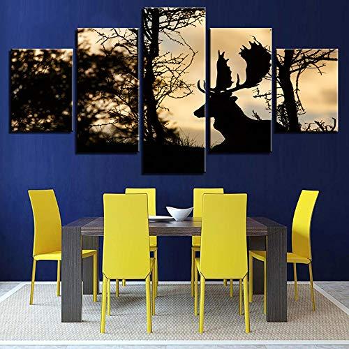 Pintura en lienzo de alta calidad para la decoración de la casa de salón de 5 paneles de ciervo Cuadros modular marco de póster de imagen Kdw