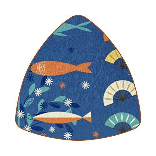 Posavasos triangulares para bebidas, diseño de pez abanico submarino de cuero, para proteger muebles, resistente al calor, decoración de bar de cocina, juego de 6