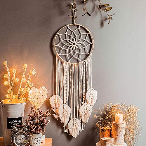 Nice Dream Macrame Dream Catcher Woven Feather Large Wall Hanging Handmade Dreamcatcher Boho Tassels Decoration Home Decor Ornament Craft Gift, 36 x 12 inches (Beige)