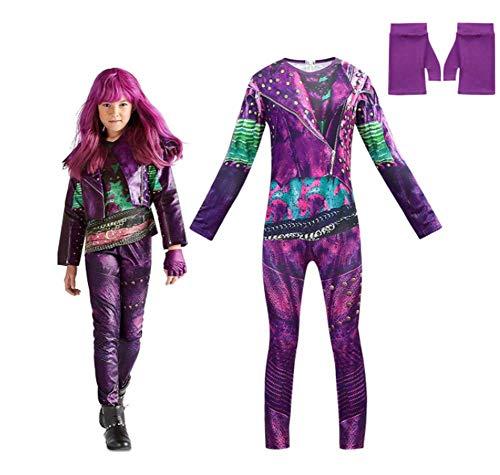 CVDEKH Disfraz de Halloween para niñas Disfraces Descendientes 3 Que rodean el Rendimiento para niños Ropa de Carnaval Regalos para niños,140yards