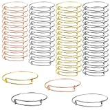 UPINS 100Pcs Expandable Bangle Bracelets Adjustable Blank Bracelets for Jewelry Making, 4 Colors