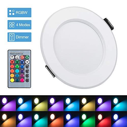 Bloomwin - Faretto a LED RGB multicolore con telecomandi, 220 V, 16 colori, dimmerabile, lampada da soffitto a incasso, per soggiorno, Veranda, casa, camera, bagno moderno #2 1pcs