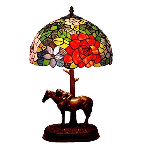 AWCVB Led Tiffany Style Romántico Color Vidrio Dormitorio Decoración Pony Table Lámpara Led Lámpara De Escritorio