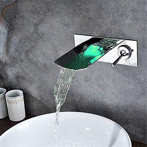 WasserhahnTap Cuivre matériel lumière LED 3 Jeux d'eau de Cascade cachés Chaud Froid Bassin d'eau Robinet