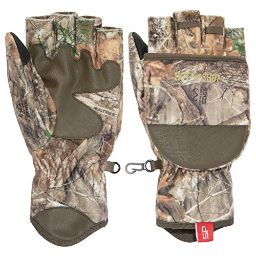 HOT SHOT Mens Camo Cyclone Stormproof Pop-Top Mittens - Realtree Edge Outdoor Hunting Camouflage