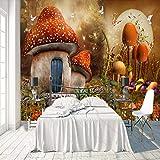 BVCK 3D Murales Papel Pintado Pared Calcomanías Decoracionesnaturaleza Dibujos Animados Seta Casa Pájaro Voladordecoración De La Sala De Estar Art Children's Kitchen_(W) 300x(H) 210cm