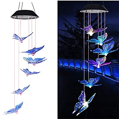 Solar Butterfly Wind Chime Color Changing Waterproof LED Mobile Butterfly Wind Chimes Solar Powered Colorful Light For Outdoor/Indoor Decor for Home Party Night Garden Decoration ?Blue butterfly?