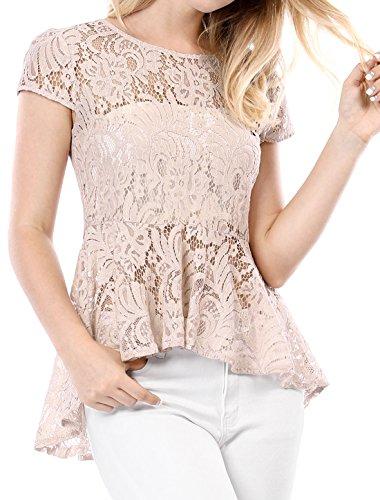 Allegra K Damen Kurzarm Durchsichtig High Low Spitze Peplum Top Bluse Rosa M