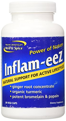 North American Herb & Spice Inflam-EEZ - 90 Capsules - Supports Healthy Immune & Inflammatory Response - Ginger Root, Camu Camu Berries, Bromelain & Papain Plus - Non-GMO - 45 Total Servings