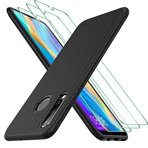 MSOVA per Huawei P30 Lite Vetro Temperato(3Pezzi) + Huawei P30 Lite Custodia, Durezza 9H Anti-graffio per Huawei P30 Lite Pellicola Protettiva, Soft Rubber per Huawei P30 Lite Cover Silicone. (Nero)