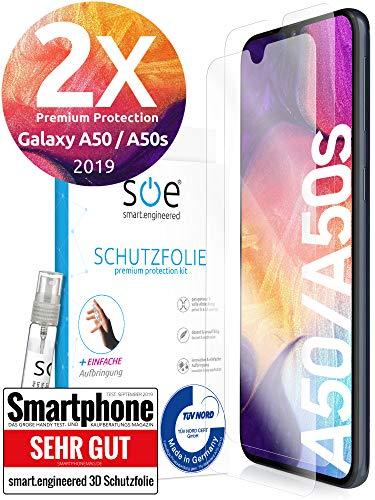 3D Schutzfolien kompatibel mit Samsung Galaxy A50 / A50s 2019 - [Made in Germany - TÜV] – 2 Stück - Hüllenfreundlich – Transparent – kein Glas sondern Panzerfolie TPU