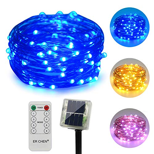 ErChen Dual-Color Solar Powered LED String Lights, 33FT 100 LEDs Remote Control Color Changing 8 Modes Copper Wire Decorative Fairy Lights for Outdoor Garden Patio (Warm White, Blue)
