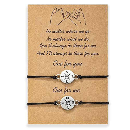 MANVEN Graduation Gifts Pinky Promise Bracelet Compass Wishes Matching String Long Distance BFF Bracelets for 2 Boyfriend and Girlfriend Women Best Friend
