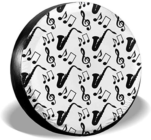 MODORSAN Musical Music Notes Treble Clef Saxofón Rueda de Repuesto Cubierta de neumático Poliéster Cubiertas de Rueda universales para Jeep Trailer RV SUV Camión Accesorios, 17 Pulgadas