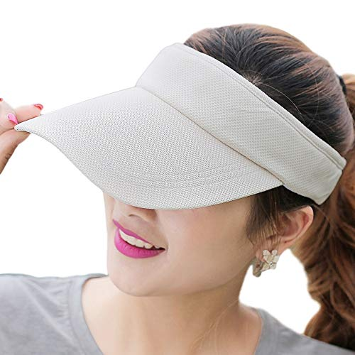 Fasbys Summer Outdoor Sports Beathable Long Brim Empty Top Baseball Sun Cap Hat Visor (Beige)