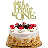 The Prince is One Cake Topper for Boys 1st BirthdayParty Decorations Gold Glitter