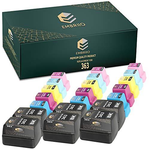 EMBRIIO 363 21x Cartuchos de Tinta Reemplazo para HP Photosmart 3110 3210 3210xi 3310 8250 C5180 C6150 D6160 C6180 C6280 D7160 C7180 D7260 C7280 D7460 C8180