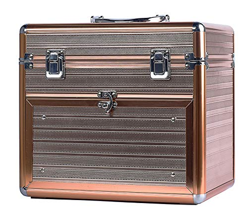 Nail Polish Case With Drawer and Dividers Makeup Travel Case Portable Cosmetic Organizer-Rose Gold