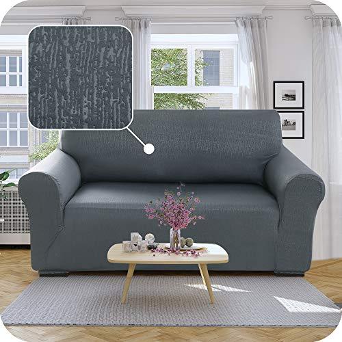 Umi Amazon Brand Sofabezug Geprägt Sofa Überzug SofaüberwurfCouchhusse Stretch mit Borkenmuster 152x83x89 Grau 2-Sitzer