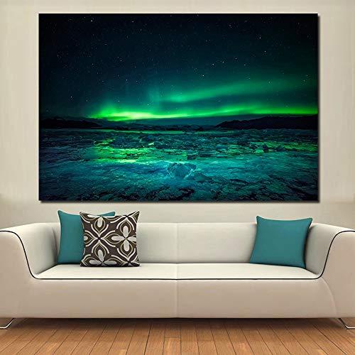 Yollc Kunstdruck auf Leinwand ohne Rahmen, große Größe, Öldruck, Wandfarbe, Northern Lights Wall Art Foto für Wohnzimmer, 16 x 24