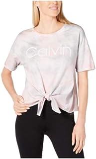 Calvin Klein Performance Tie-Dyed Logo Tie-Front T-Shirt Pink S