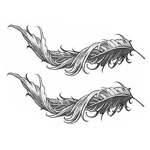 Noir Tattoos Temporaires Plumes Tatouages Faux Tatouages Tatouages Créatifs Autocollants