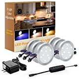 Onforu 6pcs Lampe de Placard 12W UV/Blanc Chaud 1080LM Spot LED sous Meuble Réglable 10 Niveaux Luminosité avec Interrupteur 12V pour Cuisine Cabinet Etagère Vitrine Armoire