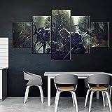 WANGZUO ImpresióN Lienzo Pintura, Cuadro Moderno 5 Piezas Animación del Juego Earth's Dawn Impresiones del Arte De La Pared DecoracióN De Pared Arte Pintura para Hogar SalóN Oficina-150x80CM