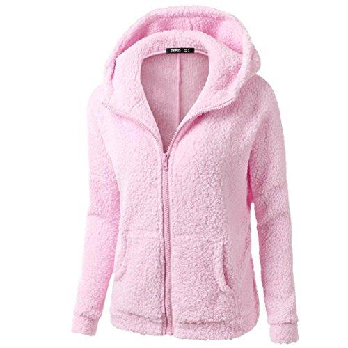Damen Wollejacke FORH Frauen Hooded Woolmix Coat Mit Kapuze Pullover Mantel Winter Warm Zipper Strickjacke Outwear Hoodie Baumwolle Wintermantel Trenchcoat Größen S-5XL wählbar (S, Rosa)