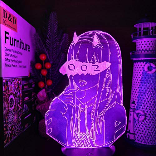DARLING in der FRANXX Zero Two 002 3D LED Illusion Nachtlichter Anime Lampe LED Beleuchtung für Weihnachtsgeschenk-Black Base Fernbedienung