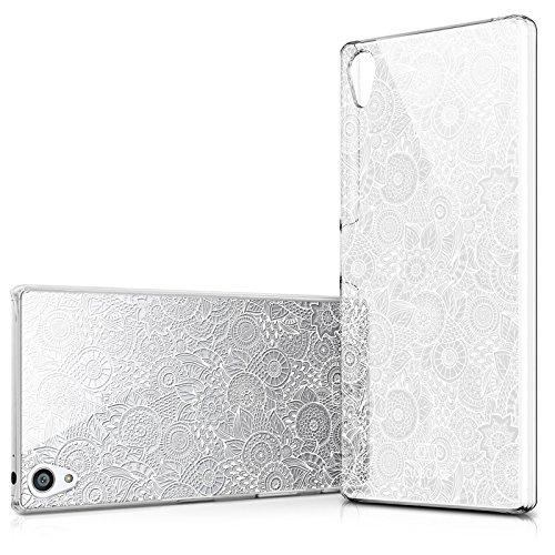 Carcasa para Sony Xperia Z5 Compact, Ultrafina, Textura de Encaje, diseño Floral, Color Blanco