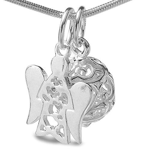 Schutzengel Kette & Engels-Glöckchen Anhänger - 3 tlg. Set Halskette echt Silber 925 & Geschenkbox #1515