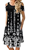 Women's Casual Cold Shoulder Floral Print Short Sleeve Midi Swing Dress with Pockets Black
