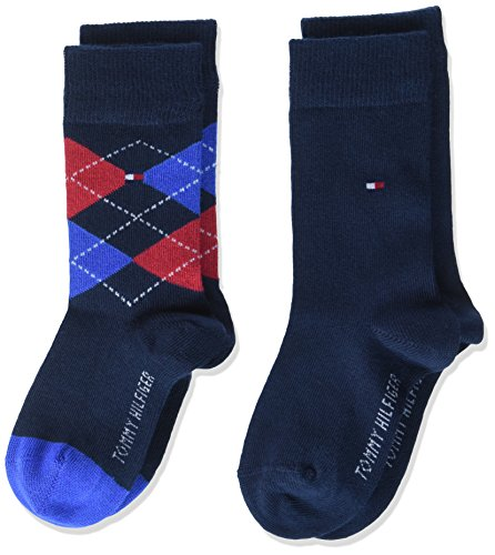 Tommy Hilfiger Jungen TH Kids ORIGINAL Argyle 2P Socken, Blau (Midnight Blue 563), 23-26 (2er Pack)