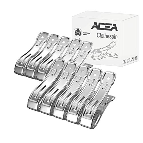 Acea 10 Pack Beach Towel Clips, 4.7 Inch Jumbo Stainless Steel Pool Towel Clips, Clothespins Suitable for Beach Chairs, Lounge Chairs and...
