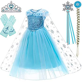 Princess Costumes Birthday Party Dress Up for Little Girls with Wig,Crown,Mace,Gloves Accessories 6-7 Years D56,130cm