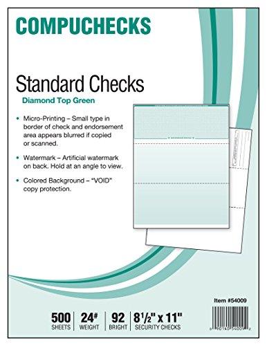 500 Blank Check Stock - Check on Top - Green Diamond