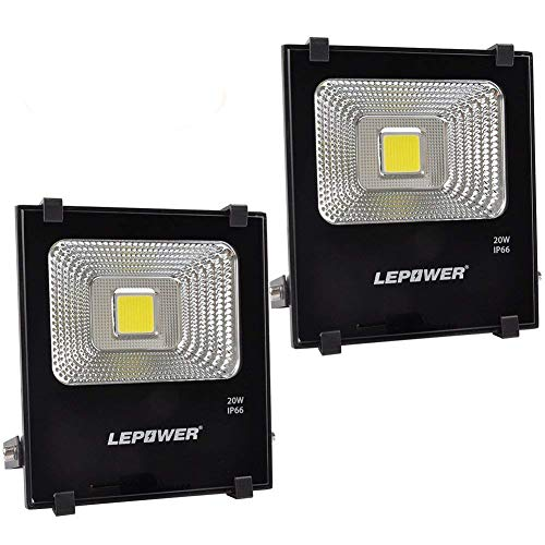 LEPOWER 20W LED Flood Light Outdoor, 1600lm Super Bright Work Light, 100W Halogen Bulb Equivalent, IP66 Waterproof Outdoor Landscape Floodlight with Plug, 6000K, Outdoor Led Lights(2 Pack)