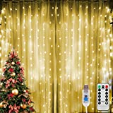 LED Lichtervorhang 3M x 3M, 300LEDs Lichterketten Vorhang Licht, USB Lichterkettenvorhang 8 Modi Fernbedienung, P65 Wasserdicht LED Fenster Vorhang für Garten Party Hochzeit Weihnachten