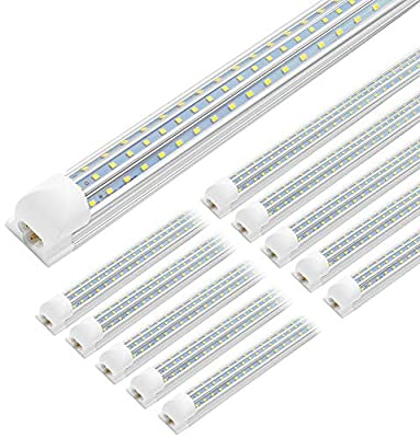 (10-Pack) JESLED 8FT LED Shop Lights, 90W Linkable T8 LED Tube Light Fixtures, 10800lm, 5000K, Clear Cover, D Shape(Triple Row), High Output 300 Degree Lighting for Garage Warehouse Workshop Basement