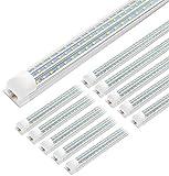 JESLED 8FT LED Shop Light, 90W Linkable 8 Foot LED Lights Fixture, 10800lm, 5000K Daylight, Triple Row D Shape LED Tube Light, High Output Shop Lights for Garage Warehouse Workshop Basement (10-Pack)