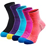 5 Pairs Women Cushioned Moisture Wicking Socks for Hiking Trekking Running Camping Outdoor