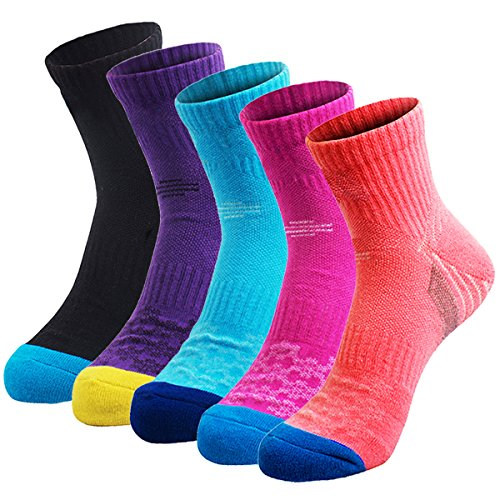 5 Pairs Women's Hiking Socks, Multi Performance Mid Cushion Crew Boots Socks for Trekking Running Camping Outdoor Sports