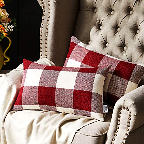 Western Home Decorative Throw Pillow Covers, Farmhouse Buffalo Check Plaid Pillowcase, Linen Cushion Cover Case for Couch Sofa Bed Red and White 12x20 Inch, Pack of 2