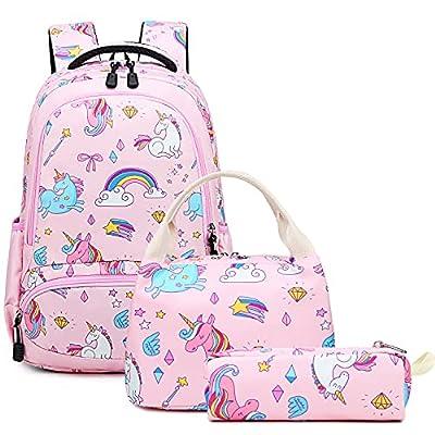 Mochila Escolar Unicornio Niña Infantil Chicas Mochila Sets de Mochila Backpack Casual Set con Bolsa del Almuerzo y Estuche de Lápices Rosa