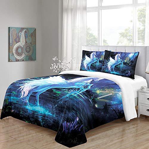 ZHIYYQ Juego de cama de tres piezas, funda de edredón de unicornio de ensueño, funda de almohada, 100% microfibra, impresión digital 3D, cómoda y suave, cremallera invisible, 200 x 200 cm