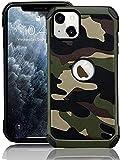 FDTCYDS Coque de protection hybride résistante aux chocs pour iPhone 13 6.1 - Camouflage vert