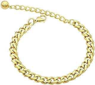 JSEA Womens Mens Stainless Steel Curb Chain Bracelet Silver Gold Link Chain Bracelet 5 7 9mm Width