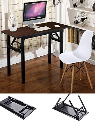 "Writing Computer Desk Office Desk 39.37"" Folding Computer Table Workstation Folding Laptop Table,Home Office Desk w Keyboard Mat, No Assembly Needed, Dark Walnut Color"